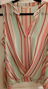 Entro Twisted Front Striped Sleeveless Top